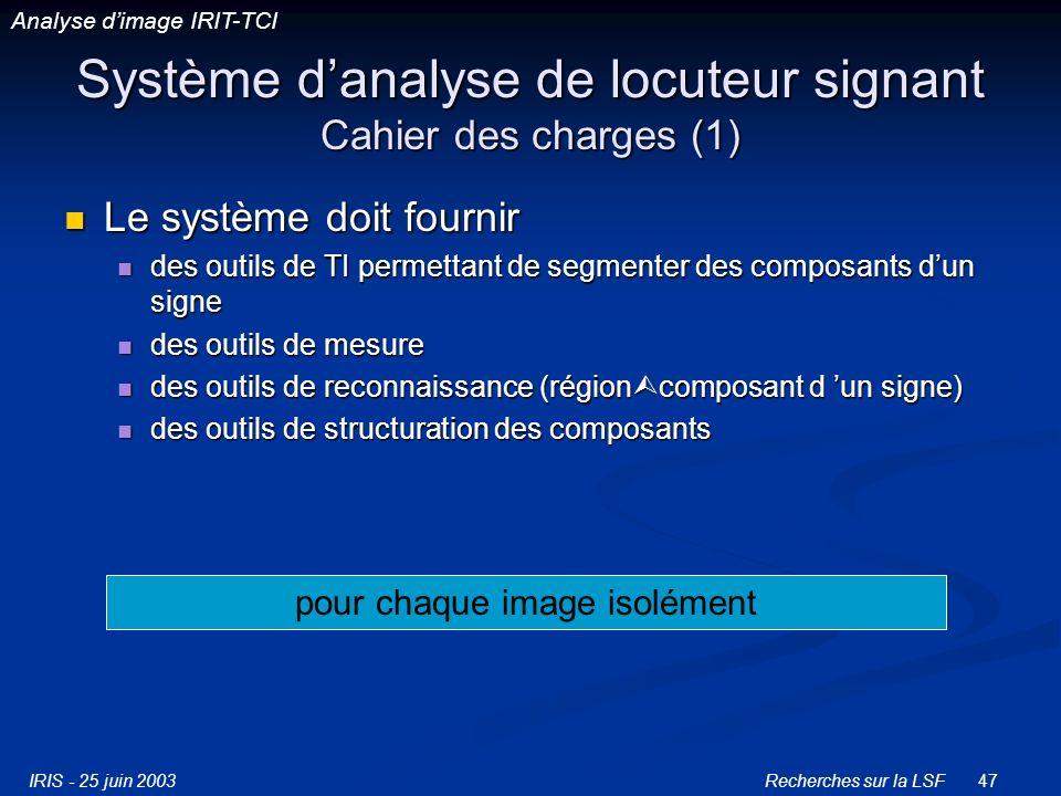 Système d'analyse de locuteur signant Cahier des charges (1)