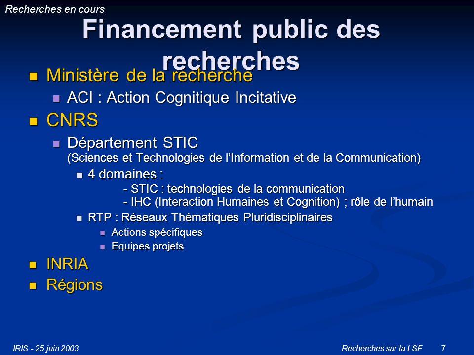 Financement public des recherches