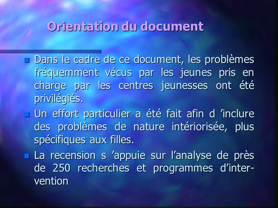 Orientation du document