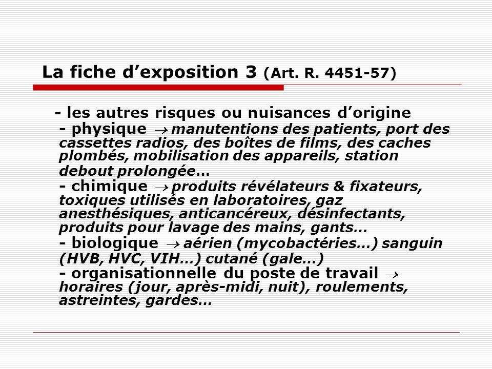 La fiche d'exposition 3 (Art. R. 4451-57)