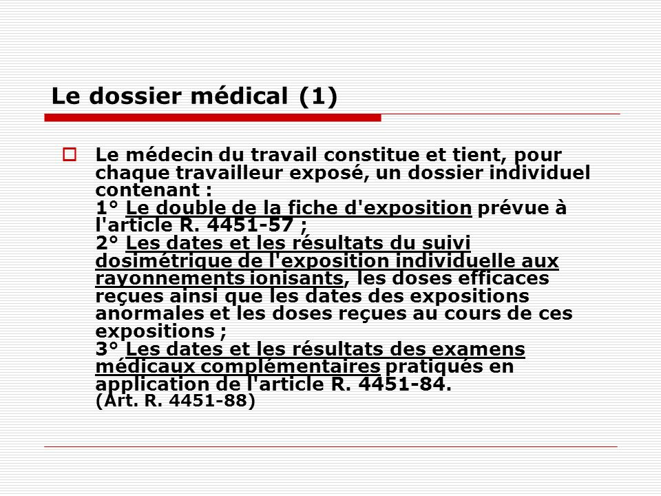 Le dossier médical (1)