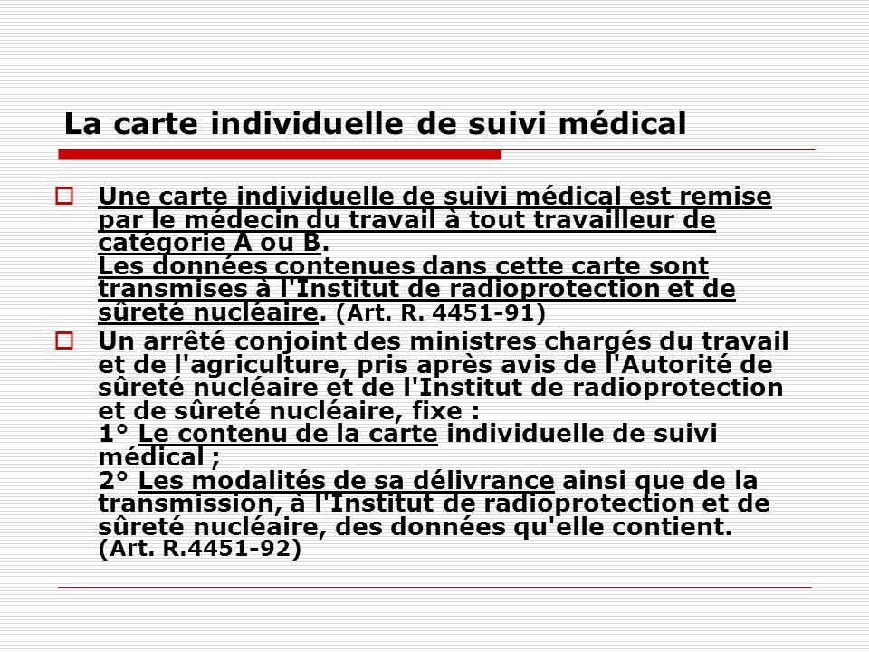 La carte individuelle de suivi médical