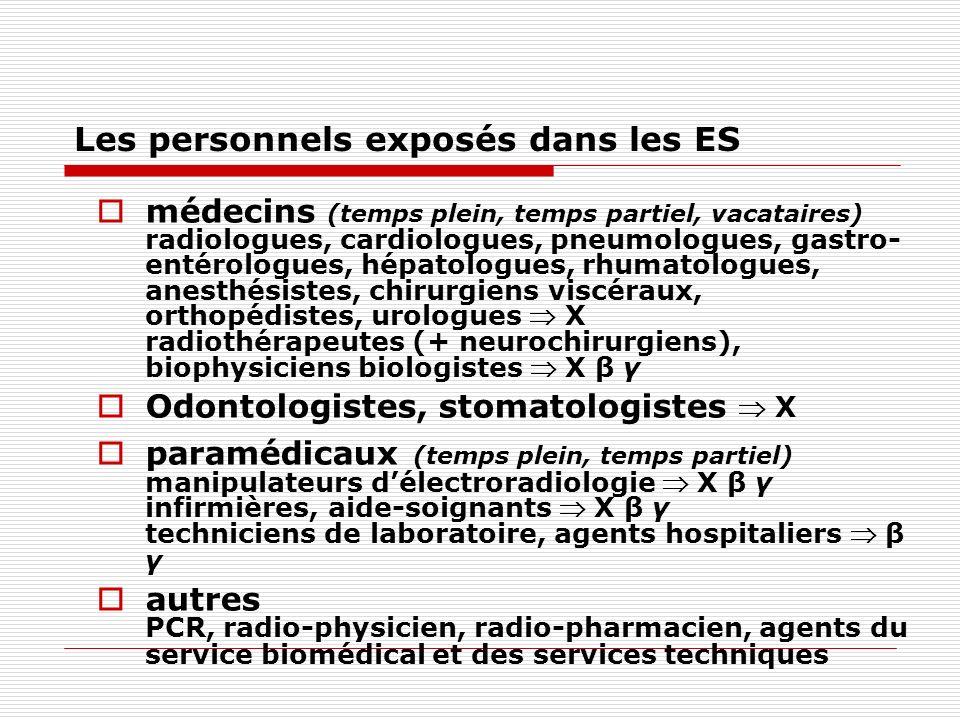 Les personnels exposés dans les ES
