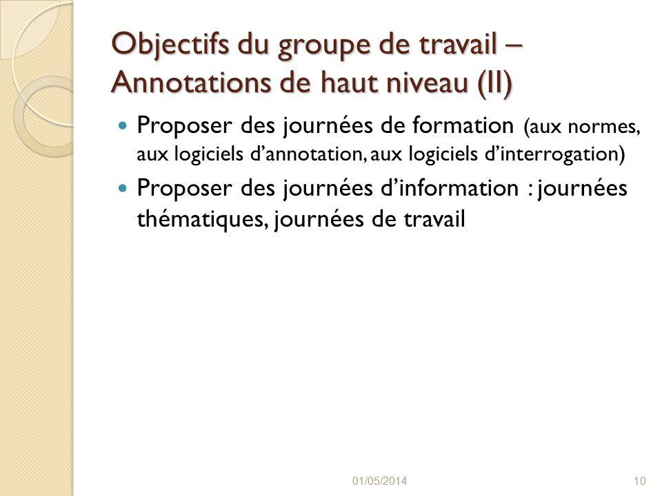 Objectifs du groupe de travail – Annotations de haut niveau (II)