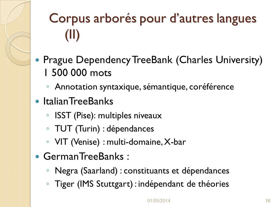 Corpus arborés pour d'autres langues (II)