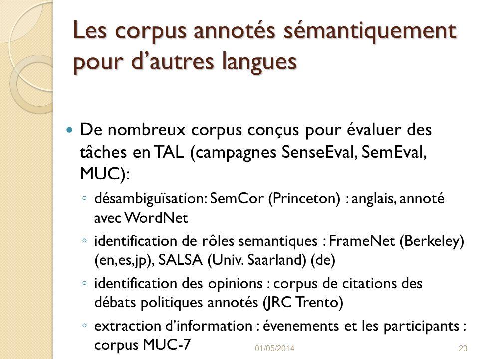 Les corpus annotés sémantiquement pour d'autres langues