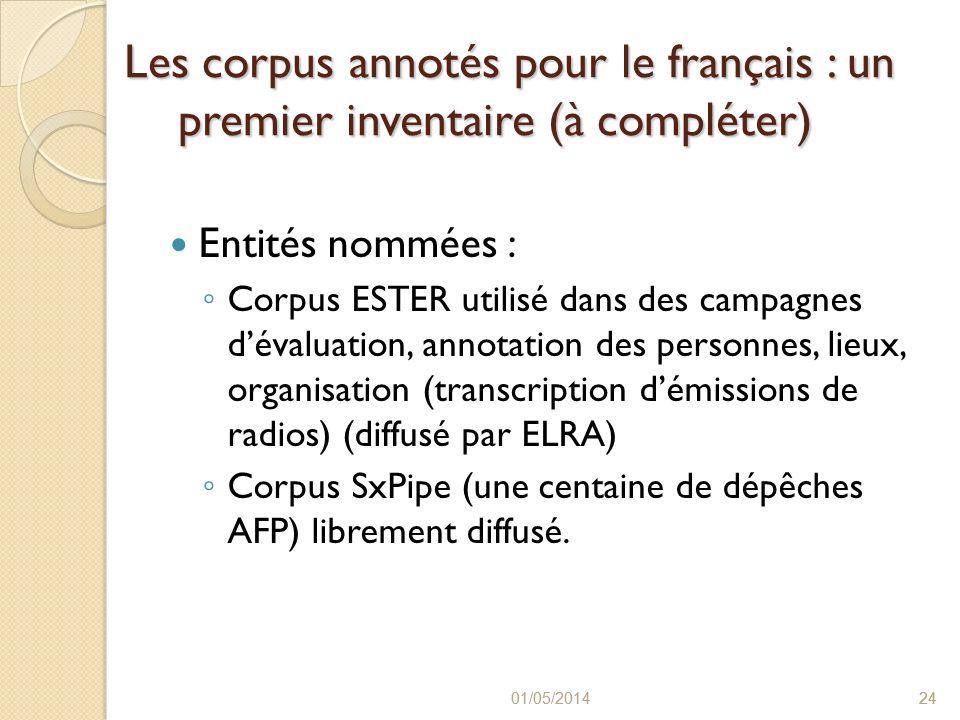 Les corpus annotés pour le français : un premier inventaire (à compléter)