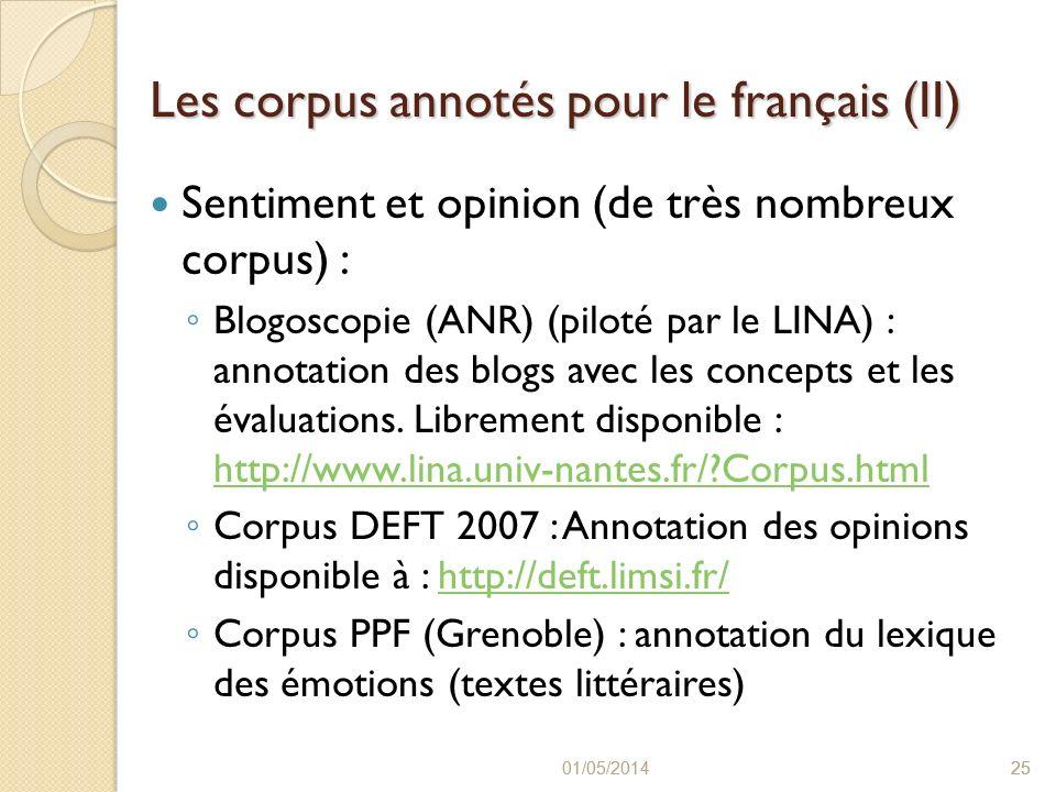 Les corpus annotés pour le français (II)