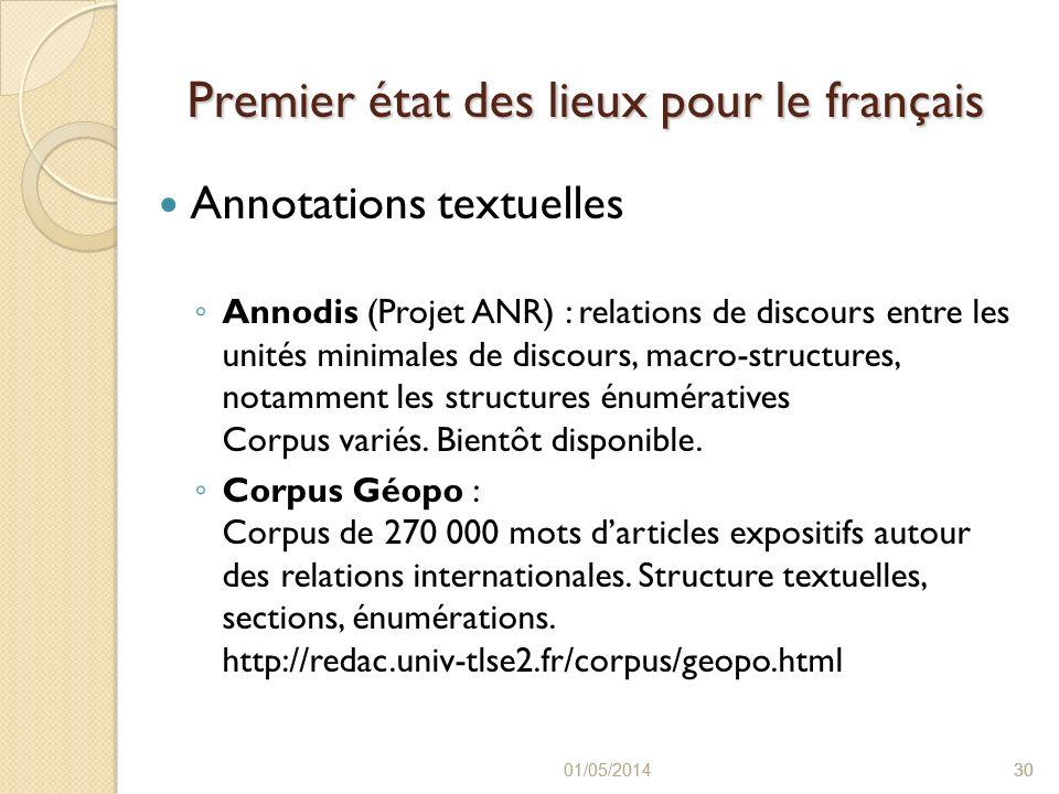 Premier état des lieux pour le français