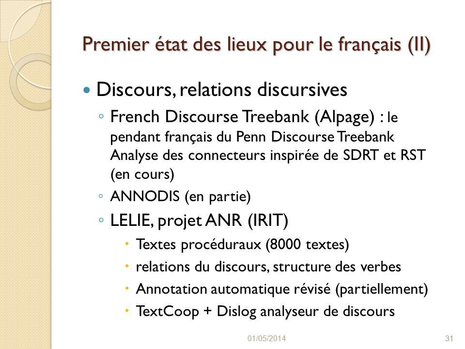 Premier état des lieux pour le français (II)