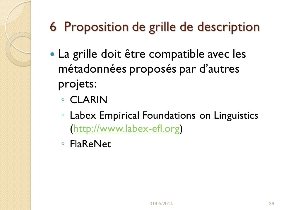 6 Proposition de grille de description