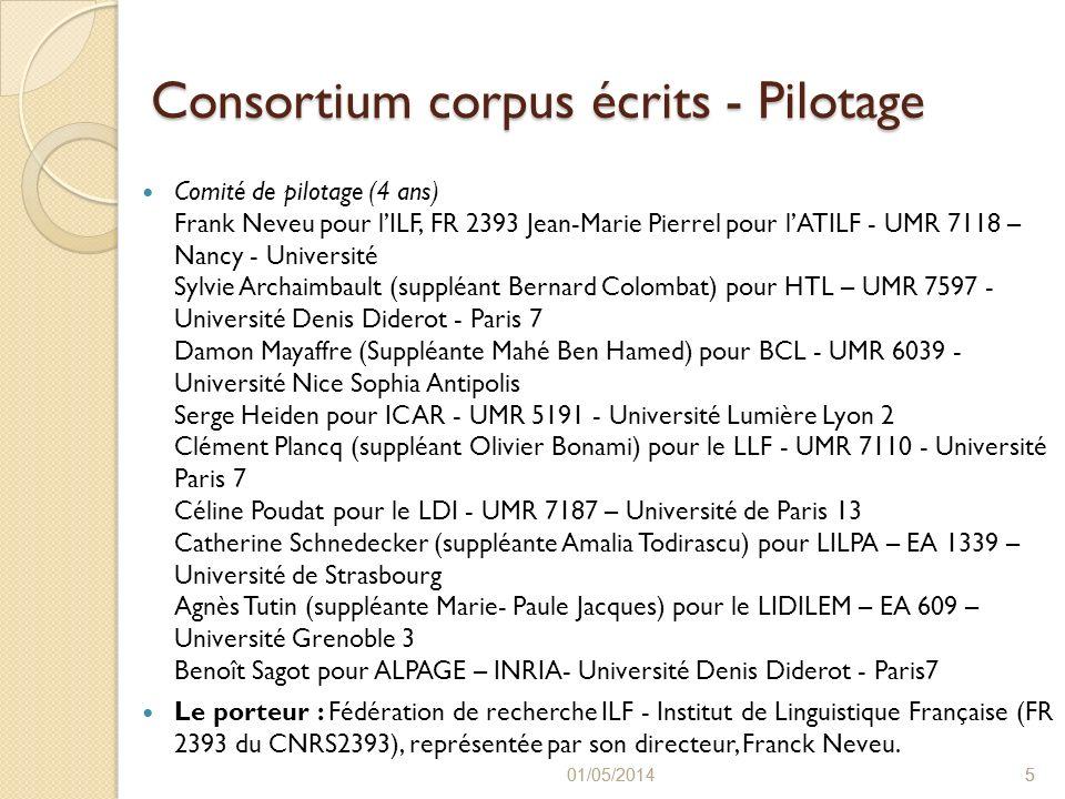 Consortium corpus écrits - Pilotage