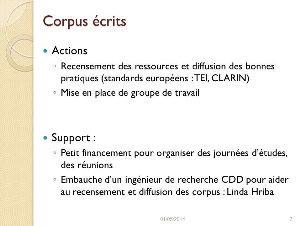 Corpus écrits Actions Support :