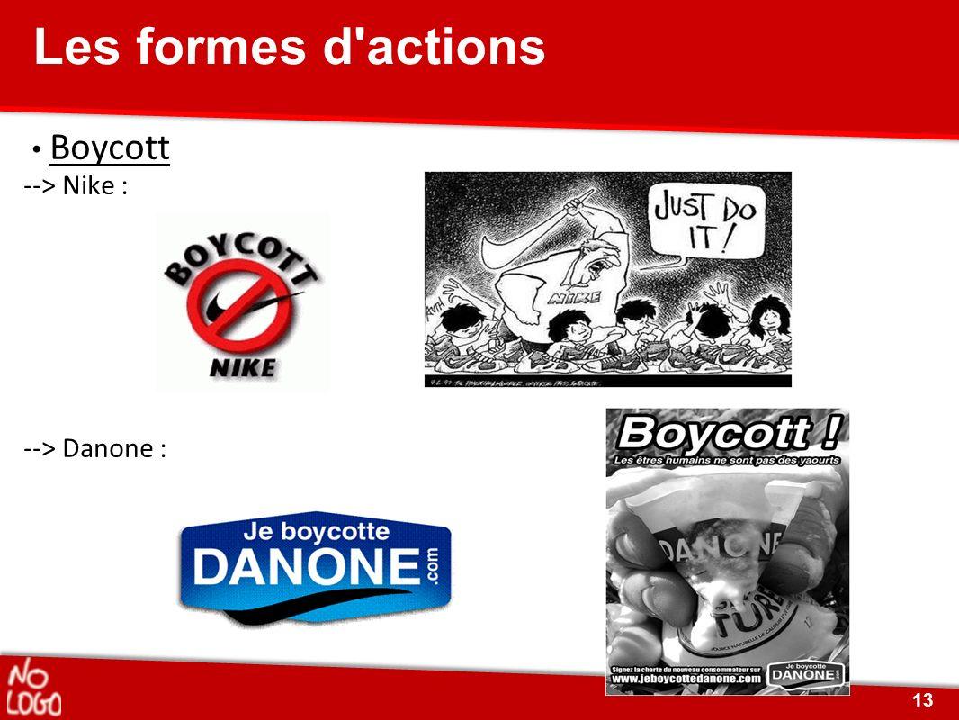 Les formes d actions • Boycott --> Nike : --> Danone :