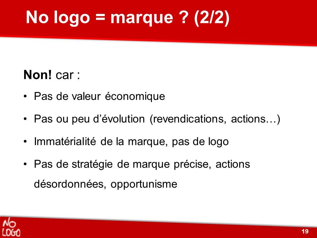 No logo = marque (2/2) Non! car : Pas de valeur économique
