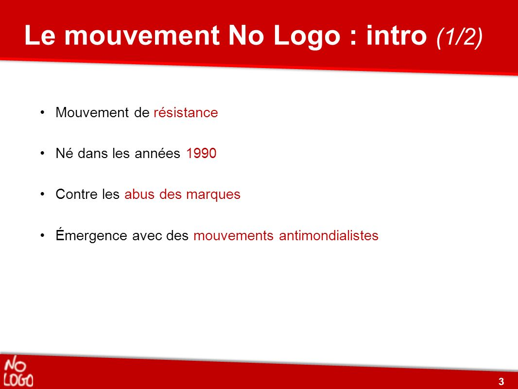 Le mouvement No Logo : intro (1/2)
