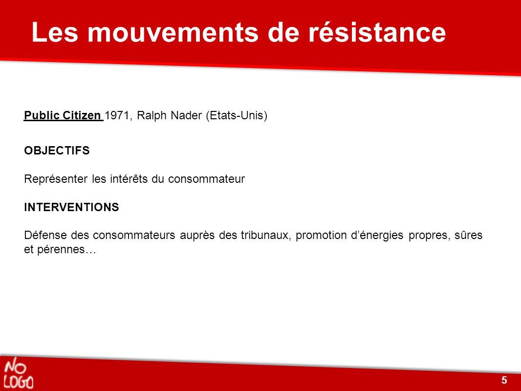 Les mouvements de résistance