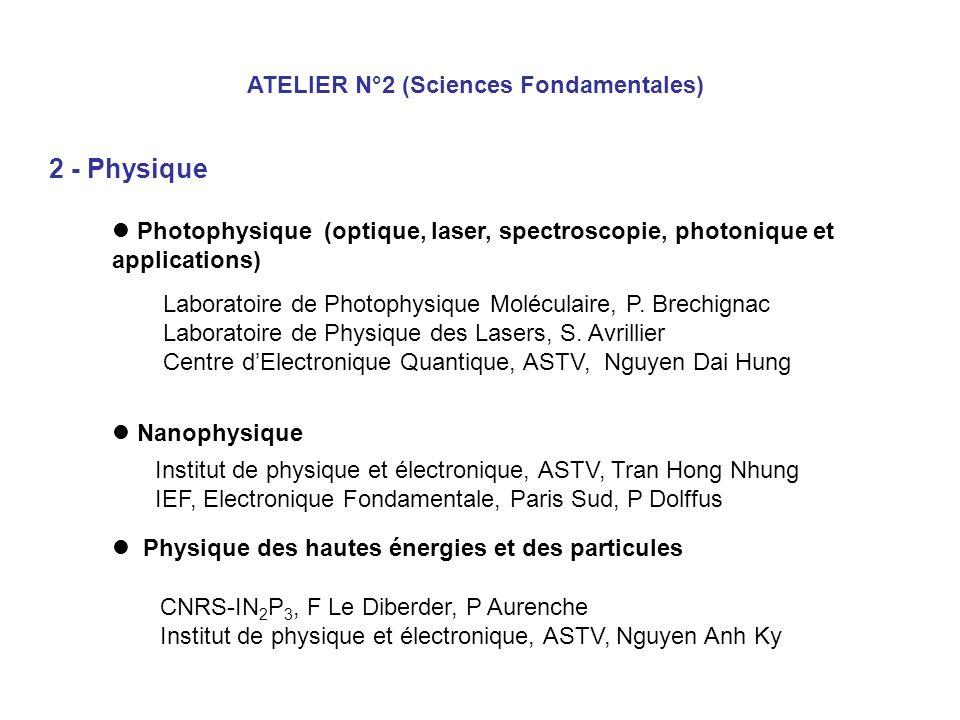 2 - Physique ATELIER N°2 (Sciences Fondamentales)
