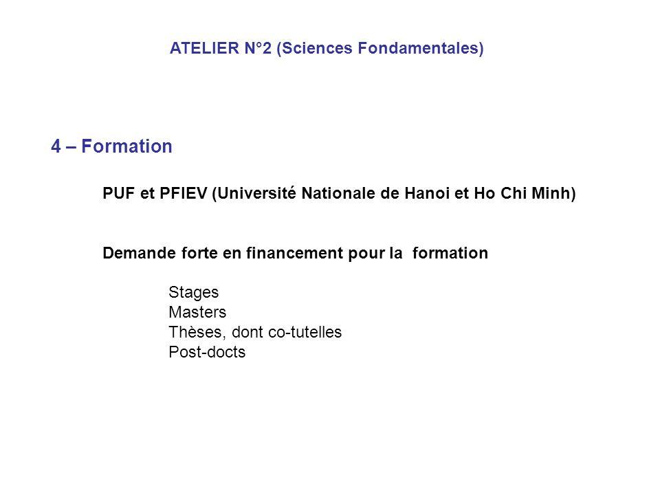 4 – Formation ATELIER N°2 (Sciences Fondamentales)