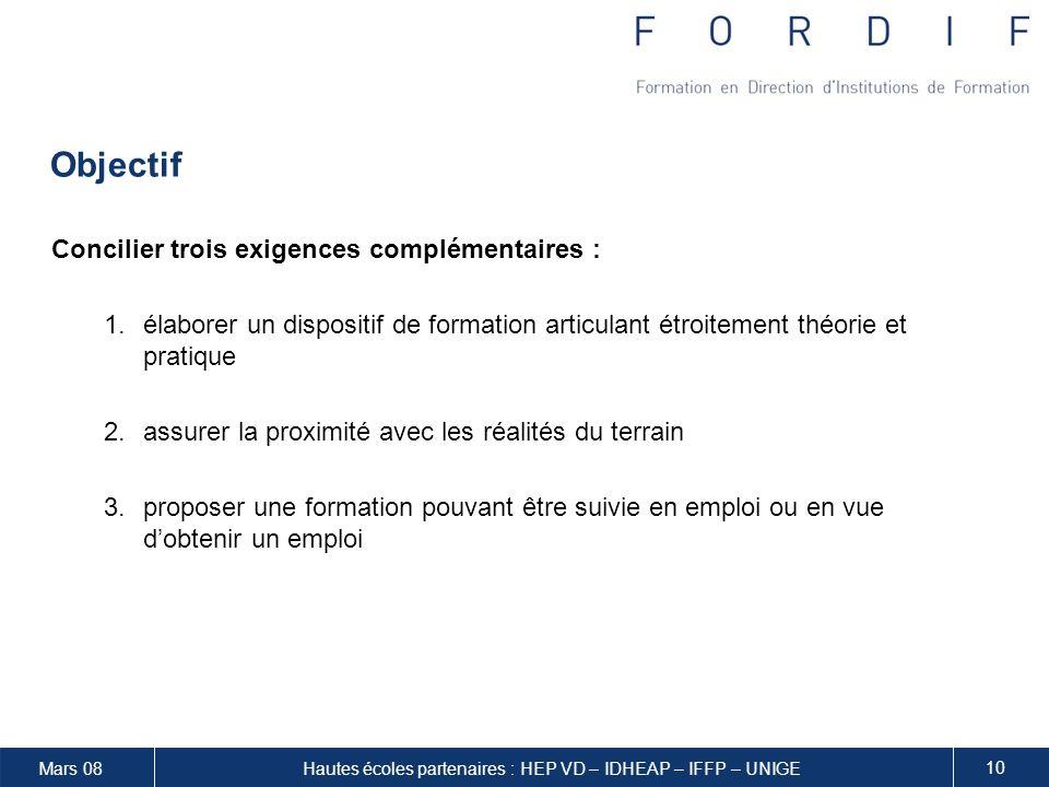 Hautes écoles partenaires : HEP VD – IDHEAP – IFFP – UNIGE