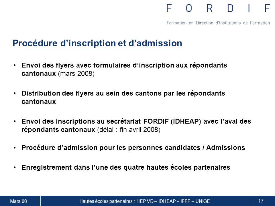 Procédure d'inscription et d'admission