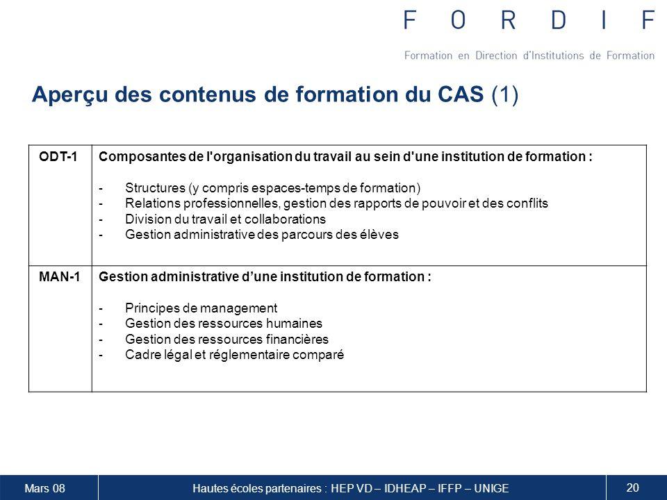 Aperçu des contenus de formation du CAS (1)