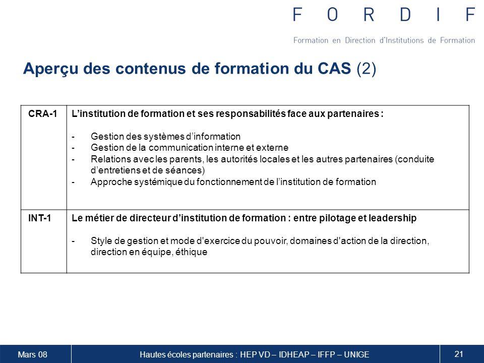 Aperçu des contenus de formation du CAS (2)