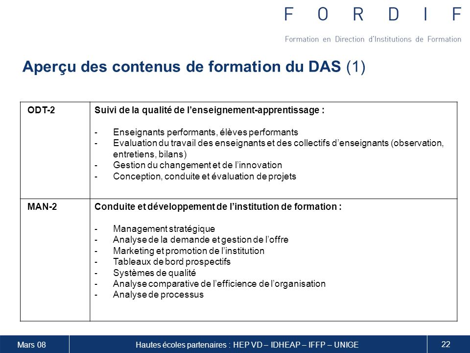 Aperçu des contenus de formation du DAS (1)