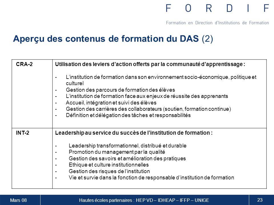 Aperçu des contenus de formation du DAS (2)