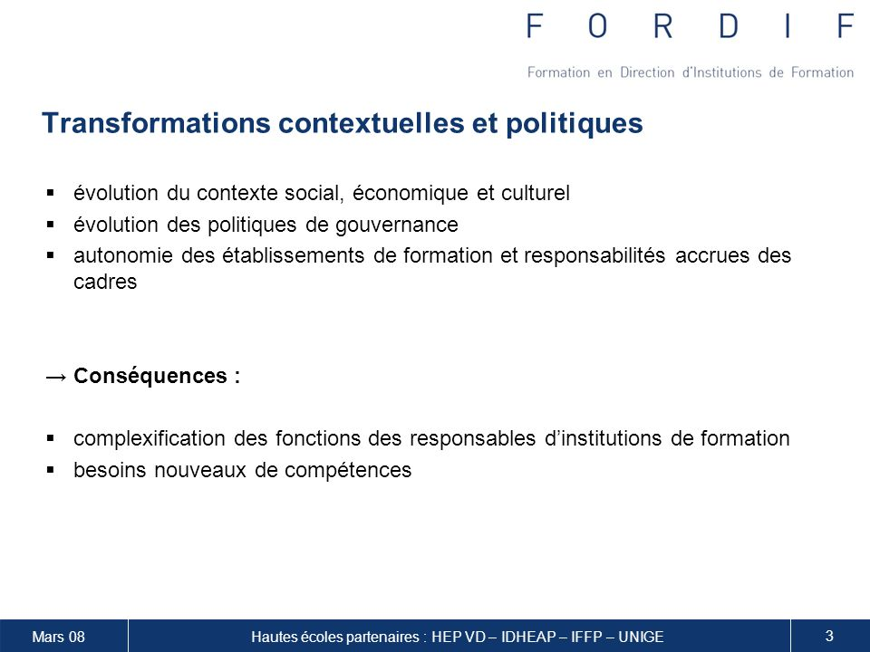 Transformations contextuelles et politiques