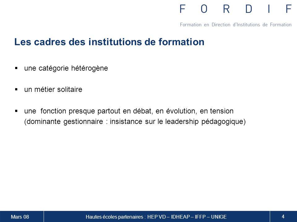 Les cadres des institutions de formation