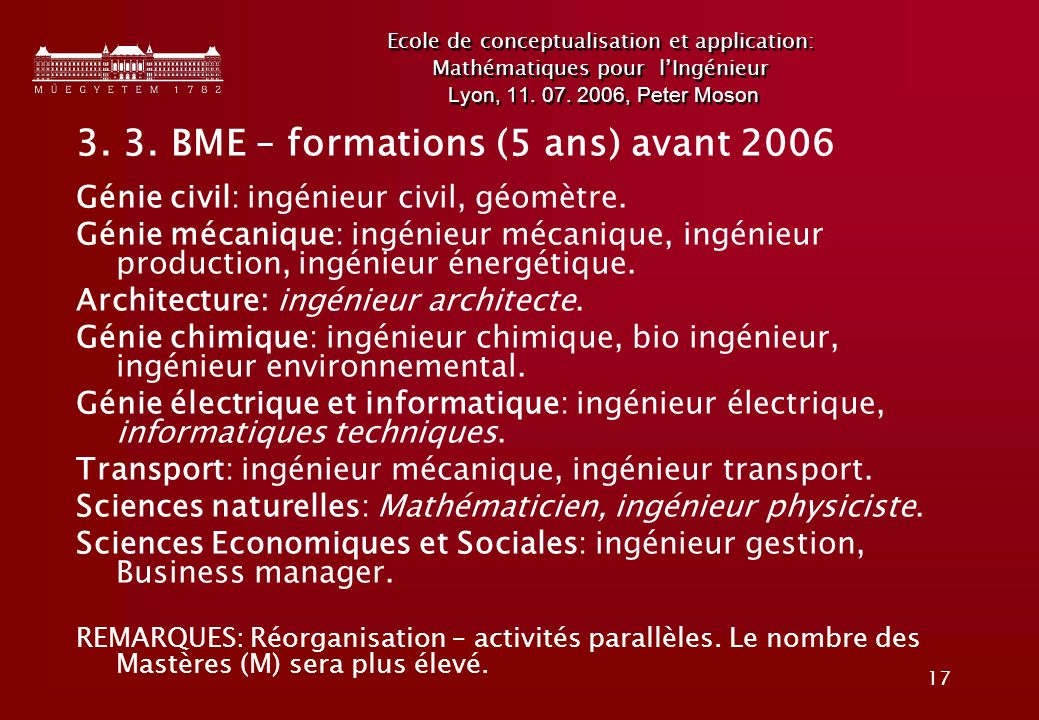 3. 3. BME – formations (5 ans) avant 2006