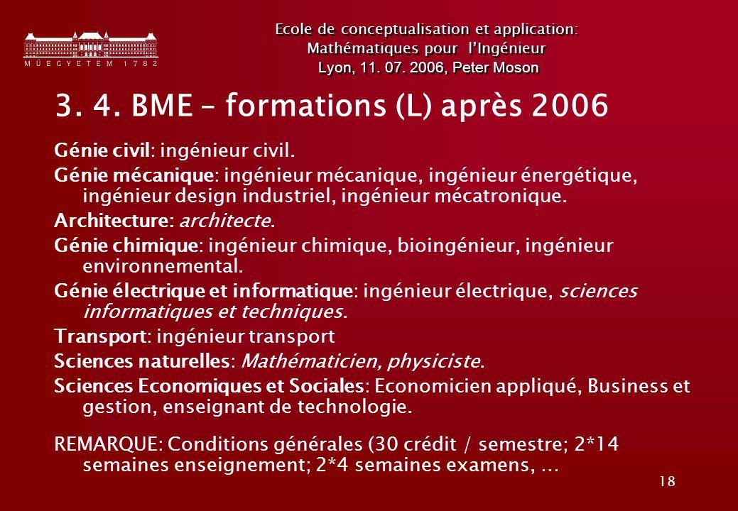 3. 4. BME – formations (L) après 2006