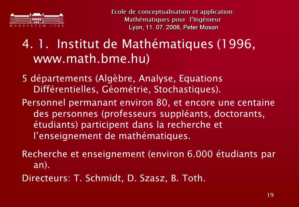 4. 1. Institut de Mathématiques (1996, www.math.bme.hu)