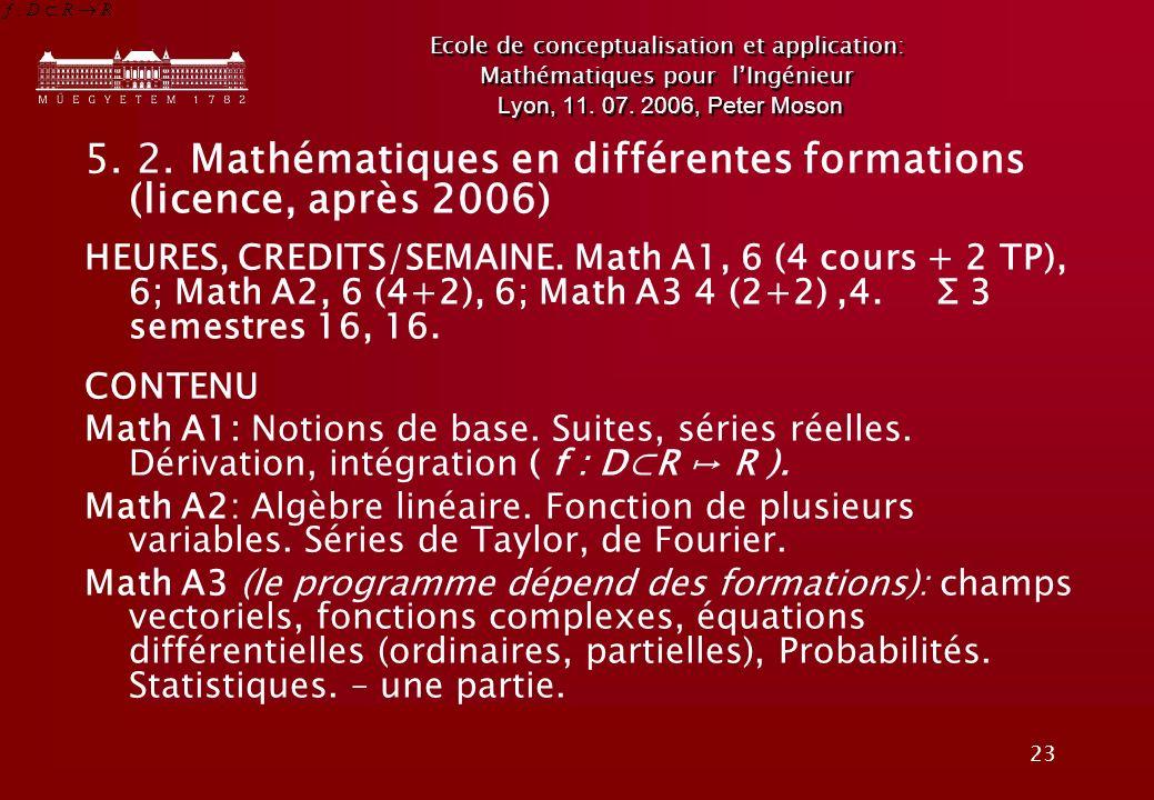 5. 2. Mathématiques en différentes formations (licence, après 2006)