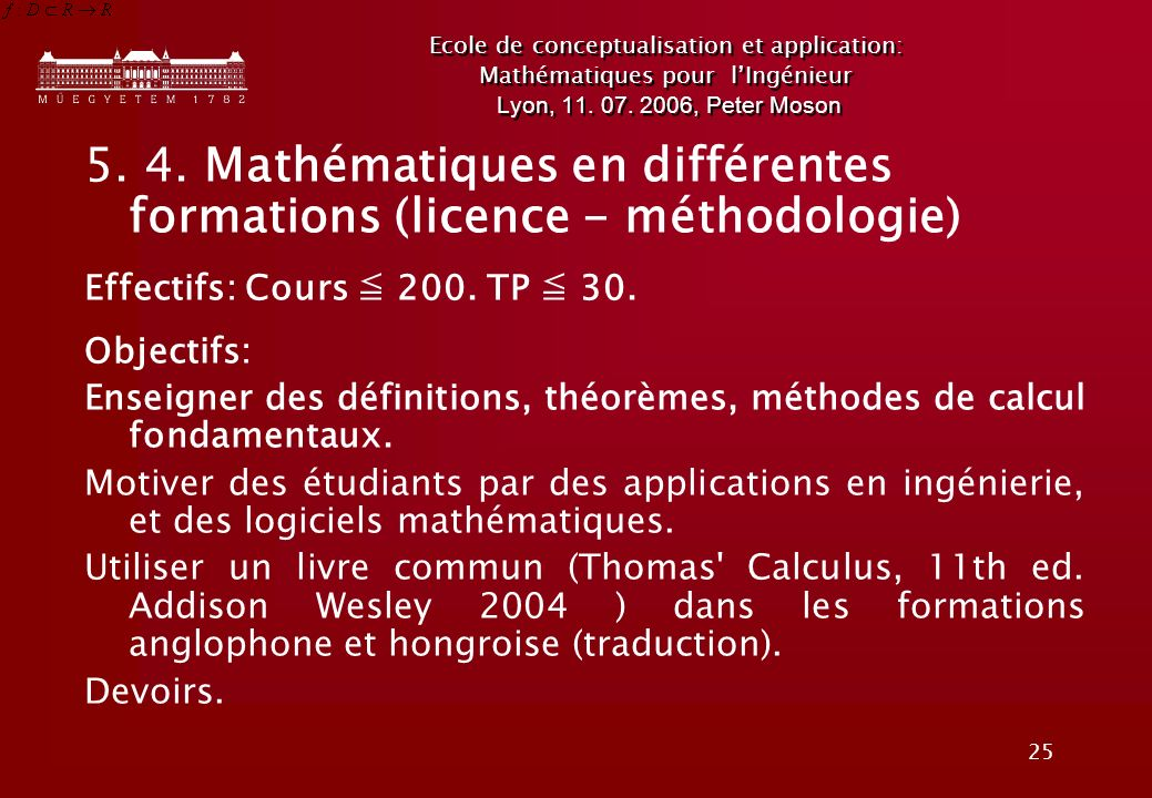 5. 4. Mathématiques en différentes formations (licence - méthodologie)
