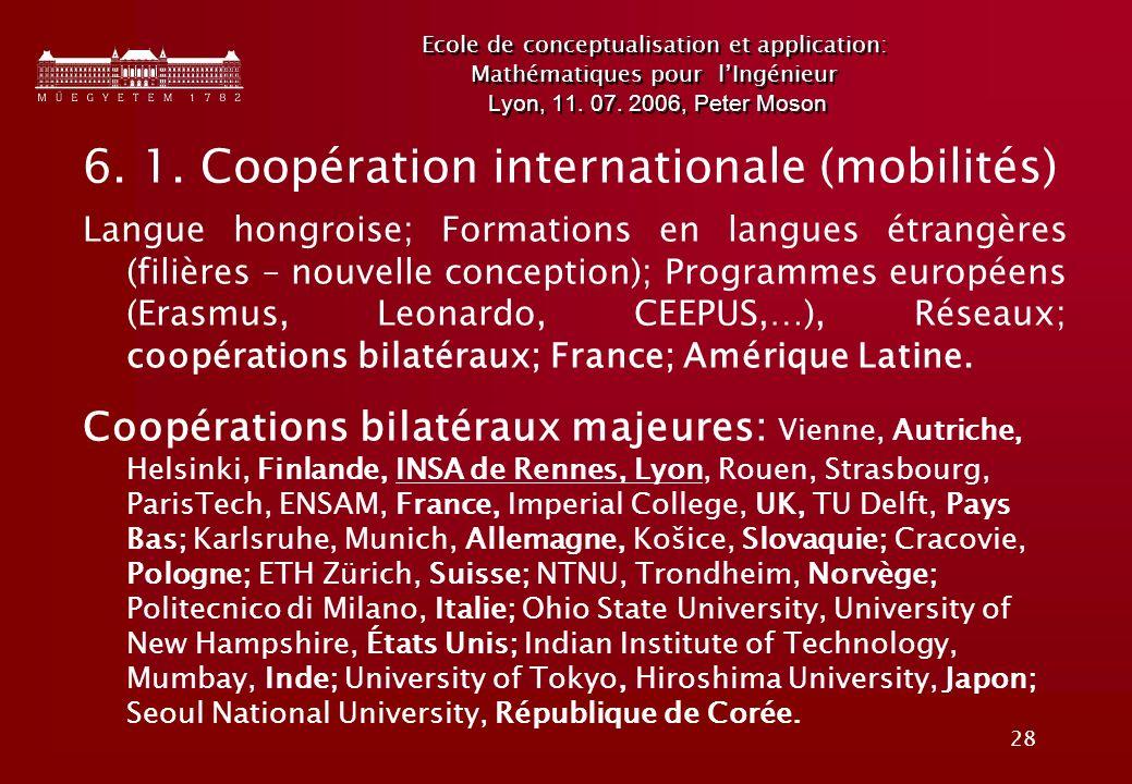 6. 1. Coopération internationale (mobilités)