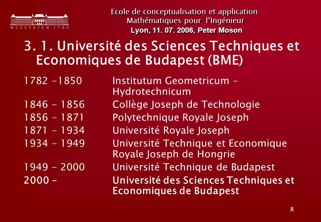 Ecole de conceptualisation et application: Mathématiques pour l'Ingénieur Lyon, 11. 07. 2006, Peter Moson