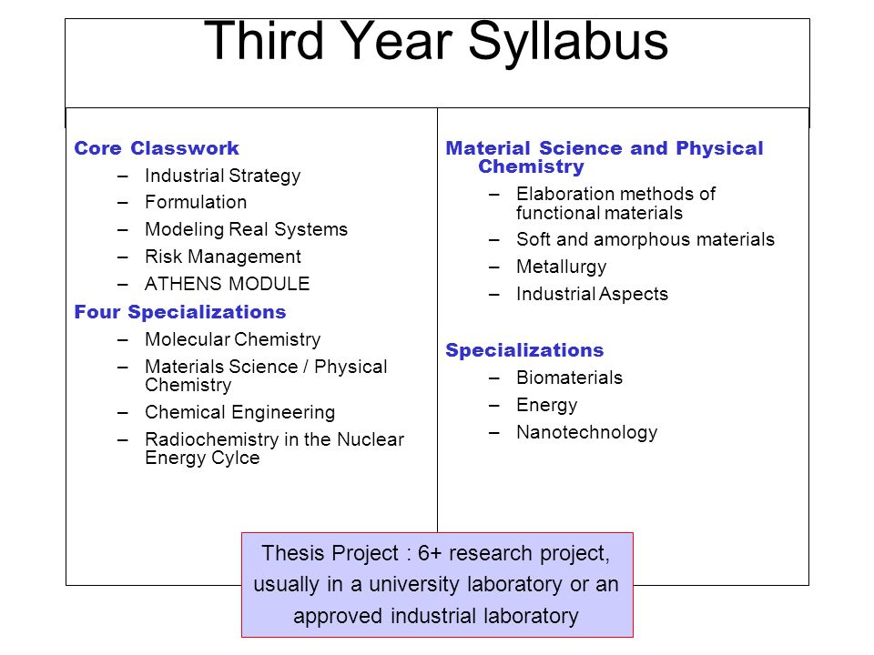 Third Year Syllabus Core Classwork. Industrial Strategy. Formulation. Modeling Real Systems. Risk Management.