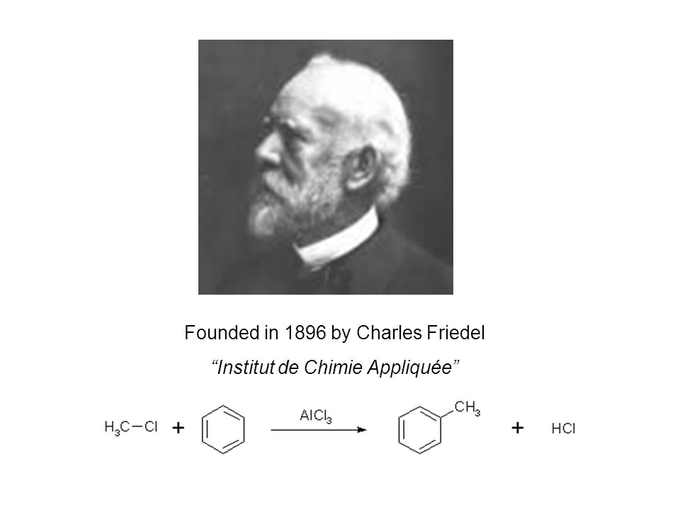 Founded in 1896 by Charles Friedel Institut de Chimie Appliquée