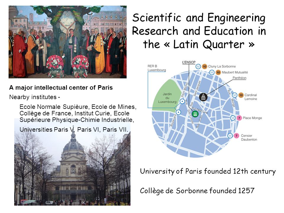 Scientific and Engineering Research and Education in the « Latin Quarter »