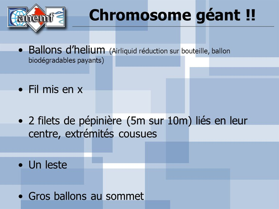 Chromosome géant !! Ballons d'helium (Airliquid réduction sur bouteille, ballon biodégradables payants)