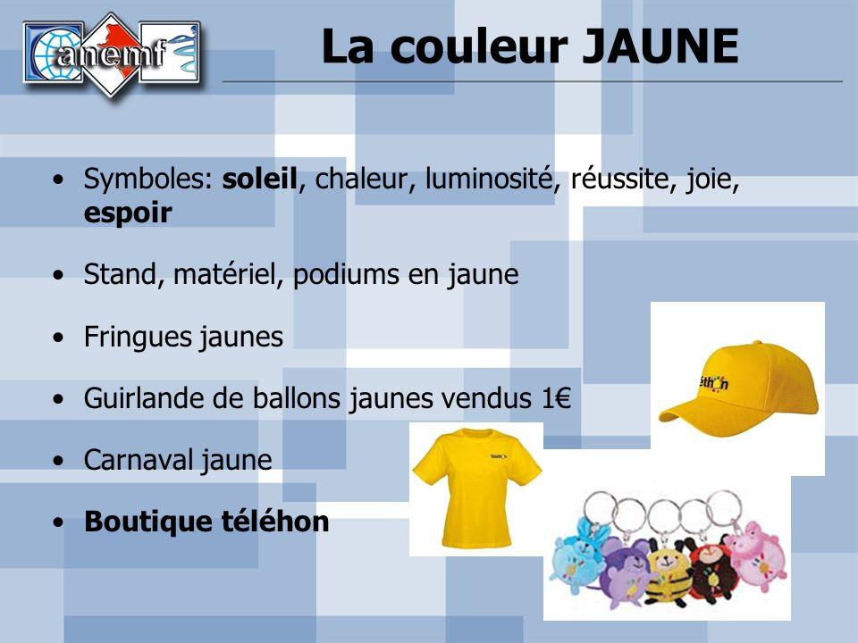 La couleur JAUNE Symboles: soleil, chaleur, luminosité, réussite, joie, espoir. Stand, matériel, podiums en jaune.