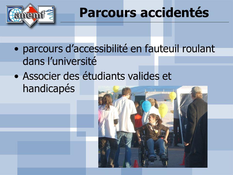 Parcours accidentés parcours d'accessibilité en fauteuil roulant dans l'université.