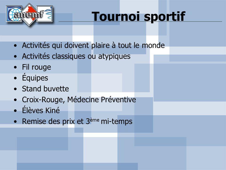 Tournoi sportif Activités qui doivent plaire à tout le monde