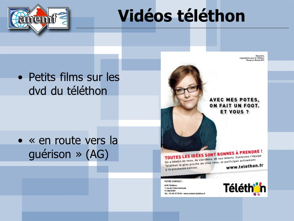 Vidéos téléthon Petits films sur les dvd du téléthon