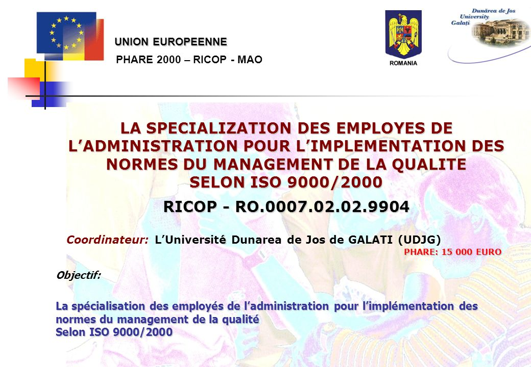 UNION EUROPEENNE PHARE 2000 – RICOP - MAO.