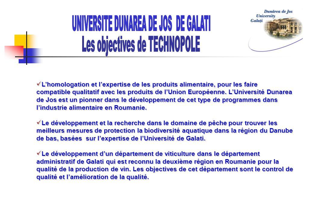 UNIVERSITE DUNAREA DE JOS DE GALATI Les objectives de TECHNOPOLE