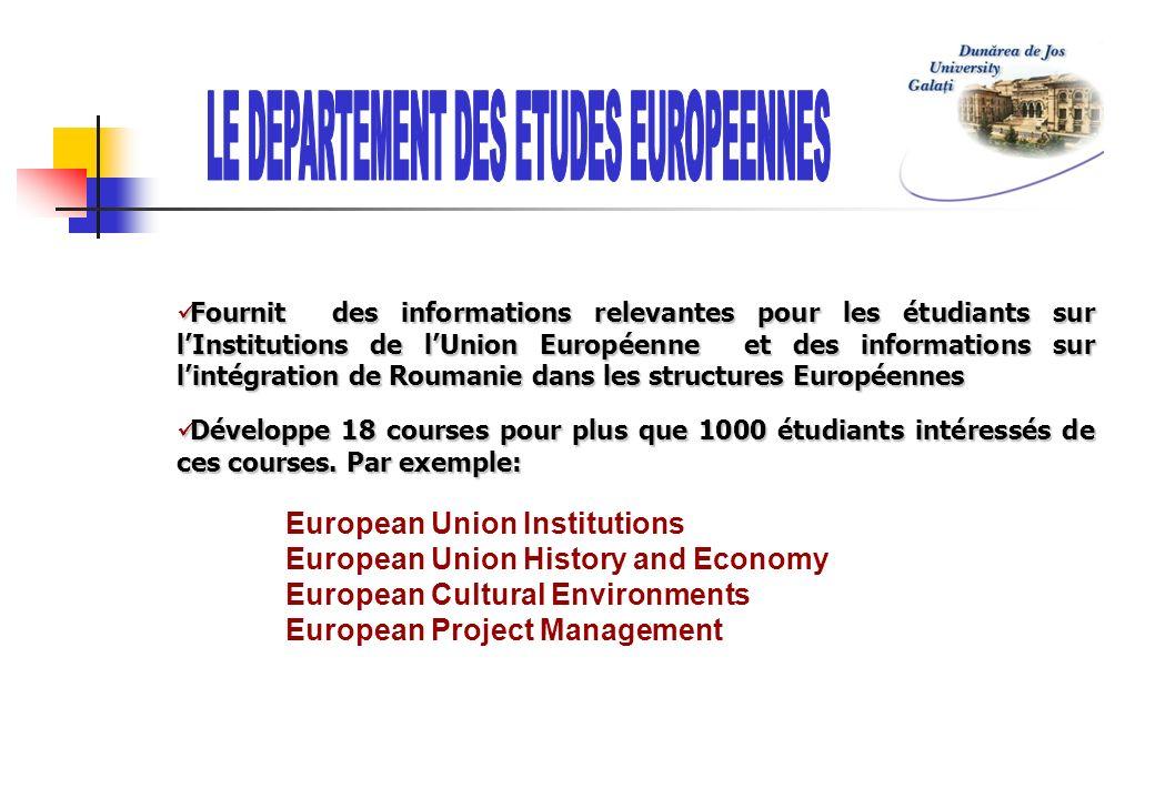 LE DEPARTEMENT DES ETUDES EUROPEENNES