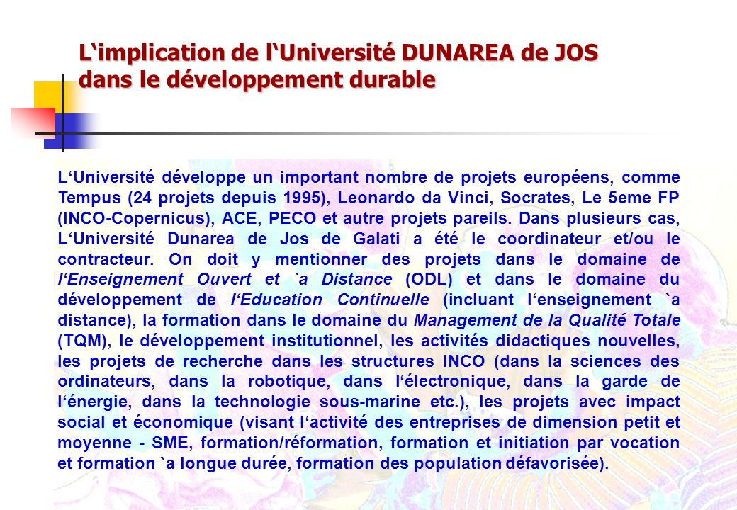 L'implication de l'Université DUNAREA de JOS